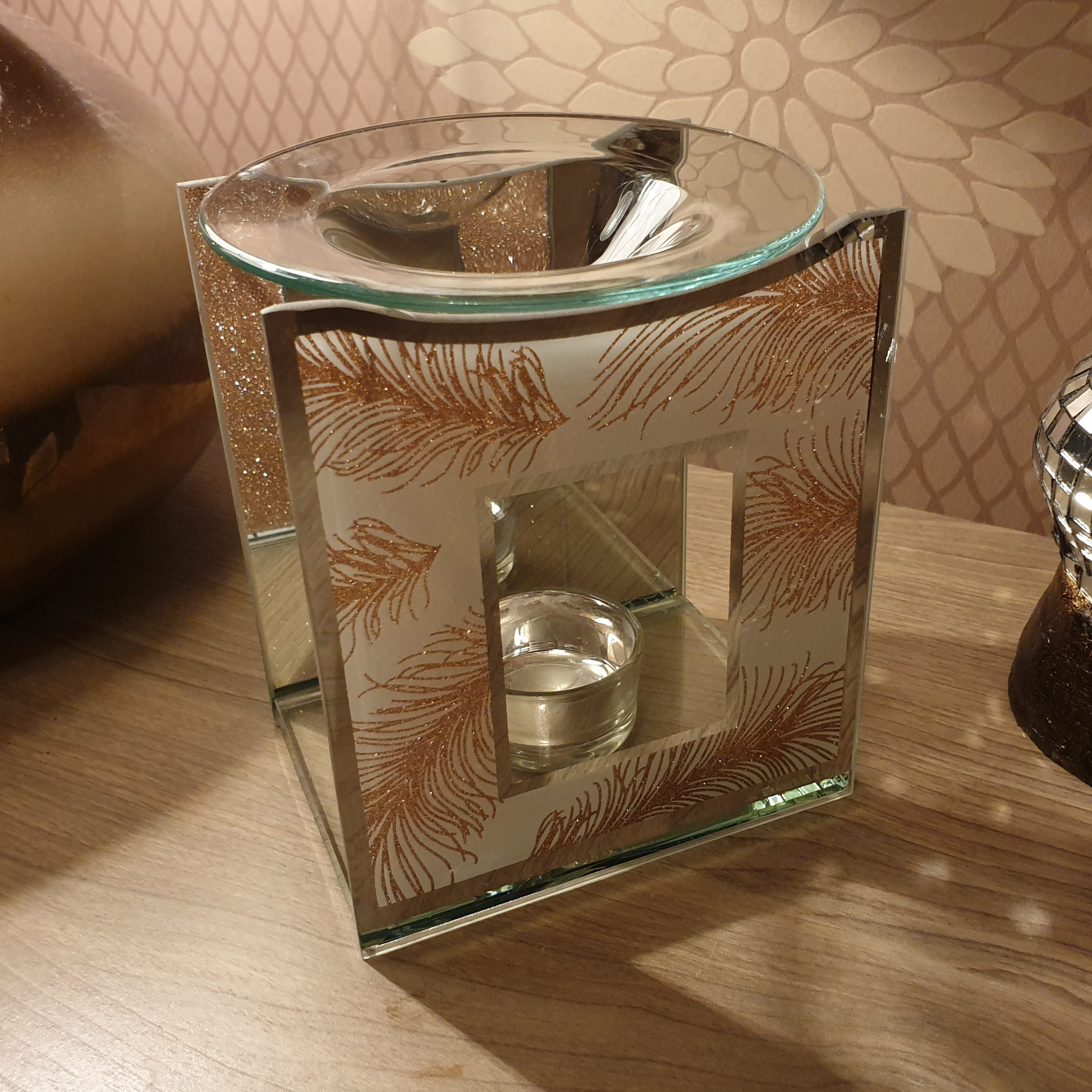 Glass Wax Warmer Burner Rose Gold Feather Pattern